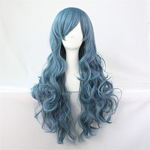 cheap Costume Wigs-Synthetic Wig Cosplay Wig Curly Curly Wig Blue Synthetic Hair Blue