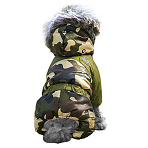 cheap Dog Clothes-Cat Dog Coat Hoodie Outfits Winter Dog Clothes Brown Orange Green Costume Cotton Camo / Camouflage Keep Warm Windproof Fashion XS S M L XL XXL