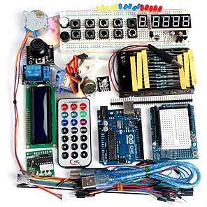 cheap Motherboards-Funduino Advanced Starter Kit LCD Servo Motor Dot Matrix Breadboard LED Basic Element Pack Compatible for Arduino