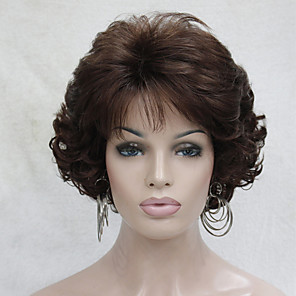 cheap Synthetic Trendy Wigs-Synthetic Wig Curly Wavy Curly With Bangs Wig Short Auburn Synthetic Hair Women's Middle Part Brown