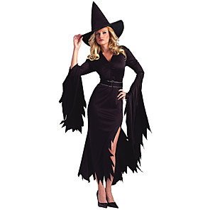 cheap Men's & Women's Halloween Costumes-Costumes Angel & Devil Halloween Red / Black Patchwork Terylene Dress
