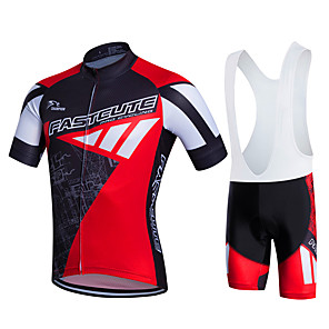 cheap Cycling Jersey & Shorts / Pants Sets-Fastcute Men's Short Sleeve Cycling Jersey with Bib Shorts Green Blue Red+Black Plus Size Bike Bib Tights Clothing Suit Breathable 3D Pad Quick Dry Sweat-wicking Sports Polyester Lycra Sports
