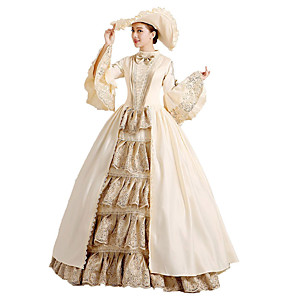 cheap Historical & Vintage Costumes-Rococo Baroque Victorian Dress Ball Gown Women's Girls' Lace Cotton Party Prom Japanese Cosplay Costumes Plus Size Customized Beige Ball Gown Floral Floor Length / Hat