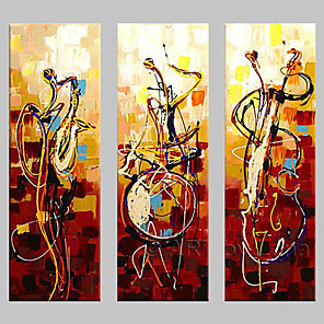 cheap Abstract Paintings-Oil Painting Hand Painted - Abstract Classic Traditional Painting Only / Three Panels