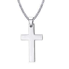 cheap Men's Necklaces-Men's Pendant Necklace Cross Ladies Personalized Basic Fashion Stainless Steel Silver Necklace Jewelry For Christmas Gifts Daily Casual Sports