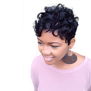 cheap Human Hair Capless Wigs-Human Hair Wig Short Straight Wavy kinky Straight Pixie Cut Layered Haircut Short Hairstyles 2019 Berry kinky straight Natural Wave African American Wig For Black Women Capless Women's Black#1B