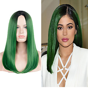 cheap Synthetic Lace Wigs-Synthetic Wig Straight Straight Wig Long Very Long Green Synthetic Hair Green