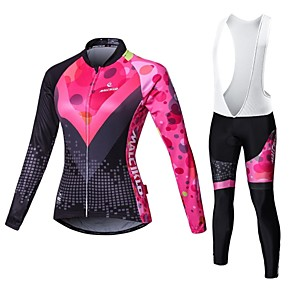 cheap Cycling Jersey & Shorts / Pants Sets-Malciklo Women's Long Sleeve Cycling Jersey with Bib Tights White Black British Plus Size Bike Jersey Bib Tights Clothing Suit Breathable 3D Pad Quick Dry Back Pocket Winter Sports Velvet Lycra