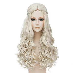 cheap Synthetic Trendy Wigs-Synthetic Wig Cosplay Wig Wavy Wavy Wig Blonde Long Blonde Synthetic Hair Women's Middle Part African American Wig Braided Wig Blonde