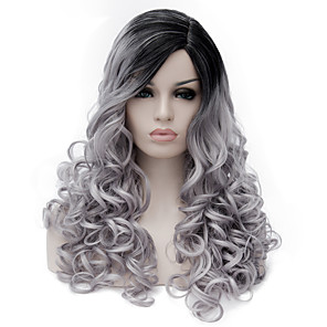 cheap Synthetic Trendy Wigs-Synthetic Wig Wig Medium Length Grey Synthetic Hair Women's Gray