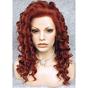 cheap Synthetic Lace Wigs-Synthetic Wig Curly Curly Lace Front Wig Auburn Synthetic Hair Red