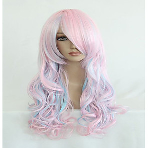 cheap Synthetic Trendy Wigs-Synthetic Wig Cosplay Wig Wavy Kardashian Wavy With Bangs Wig Pink Very Long Pink Synthetic Hair Women's Highlighted / Balayage Hair Side Part Pink hairjoy