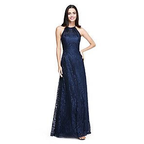 cheap Bridesmaid Dresses-A-Line Halter Neck Floor Length All Over Lace Bridesmaid Dress with Pleats