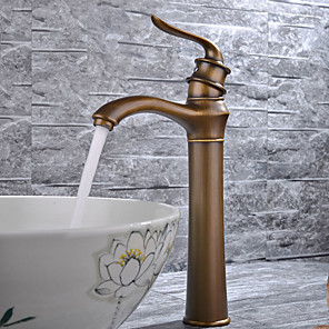 cheap Bathroom Sink Faucets-Contemporary Antique Modern Lovely Centerset Widespread Ceramic Valve Single Handle One Hole Antique Copper, Bathroom Sink Faucet