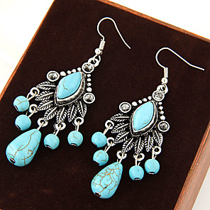 cheap Jewelry Sets-Women's Turquoise Drop Earrings Hanging Earrings Leaf Statement Vintage European Festival / Holiday Turquoise Earrings Jewelry Blue For Party Daily Casual