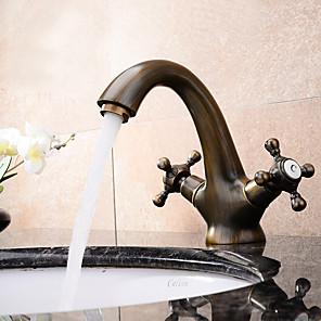 cheap Bathroom Sink Faucets-Contemporary Antique Modern Centerset Widespread Ceramic Valve Two Handles One Hole Antique Copper, Bathroom Sink Faucet