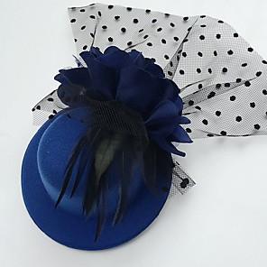 cheap Fascinators-Tulle Feather Fabric Fascinators Hats Headpiece Classical Feminine Style