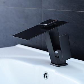 cheap Classical-Bathroom Sink Faucet - Waterfall / LED Metallic Black Centerset Single Handle One HoleBath Taps / Brass
