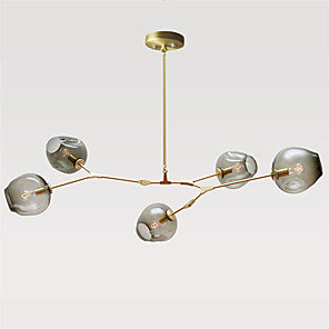 cheap Globe Design-5-Light Mini Style Pendant Light Metal Glass Sputnik Gold Retro 110-120V / 220-240V