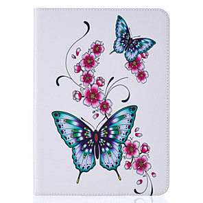 cheap Samsung Case-Case For Samsung Galaxy / Tab S2 8.0 / Tab S2 9.7 Tab E 9.6 / Tab E 8.0 / Tab A 7.0 Wallet / Card Holder / with Stand Full Body Cases Butterfly Hard PU Leather