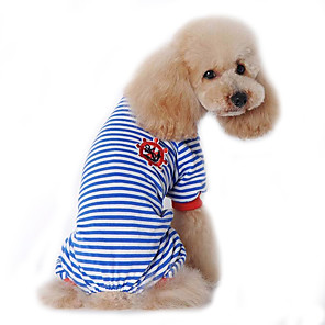 cheap Dog Clothes-Dog Jumpsuit Pajamas Sailor Casual / Daily Winter Dog Clothes Black Red Blue Costume Cotton S M L XL XXL