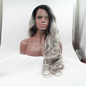 cheap Synthetic Lace Wigs-Synthetic Lace Front Wig Body Wave Wavy Lace Front Wig Long Black / Grey Synthetic Hair 24-26 inch Women's Ombre Hair Dark Roots Natural Hairline Black