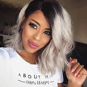 cheap Synthetic Trendy Wigs-Synthetic Wig Wavy Wavy Wig Short Medium Length Grey Synthetic Hair Women's Gray