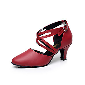 cheap Ballroom Shoes & Modern Dance Shoes-Women's Latin Shoes / Ballroom Shoes Leather Buckle Sandal Buckle Low Heel Customizable Dance Shoes Black / Red / Indoor / Performance / Practice / Professional / EU41