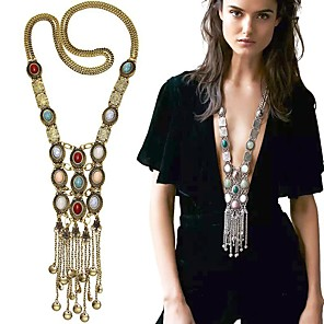 cheap Necklaces-Women's Pearl Pendant Necklace Statement Necklace Layered Tassel Fringe Long Ladies Tassel Bohemian Fashion Pearl Alloy Golden Silver 80 cm Necklace Jewelry For Party Daily Casual / Long Necklace