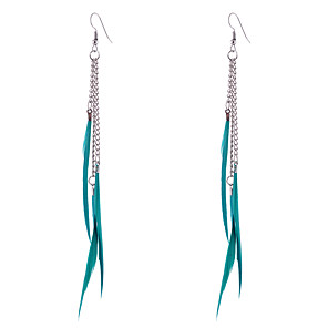 cheap Earrings-Women's Drop Earrings Ladies Bohemian Boho Feather Earrings Jewelry Brown / Blue / Khaki For Wedding Party Casual Sports