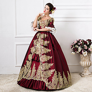 cheap Historical & Vintage Costumes-Rococo Victorian 18th Century Dress Party Costume Masquerade Ball Gown Women's Lace Cotton Costume Green / Royal Blue / Red Vintage Cosplay Party Prom Floor Length Long Length Ball Gown Plus Size