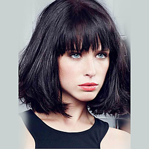 cheap Synthetic Lace Wigs-Human Hair Capless Wigs Human Hair Straight Bob / Short Hairstyles 2019 / With Bangs Short Wig Women's