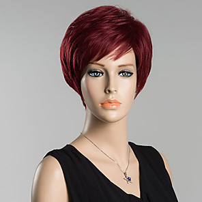 cheap Synthetic Trendy Wigs-Human Hair Blend Wig Straight Classic Classic Straight Natural Black #1B Red Daily