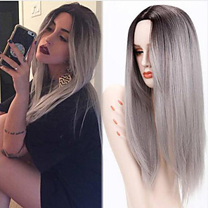 cheap Synthetic Trendy Wigs-Synthetic Wig Straight Straight Middle Part Wig Long Grey Green Synthetic Hair Women's Heat Resistant Ombre Hair Dark Roots Gray