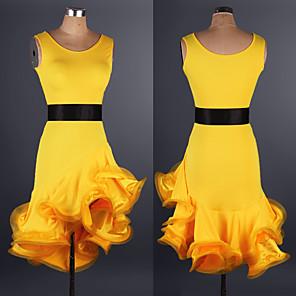 cheap Latin Dancewear-Latin Dance Dress Ruffles Pattern / Print Split Joint Women's Performance Practise Sleeveless Spandex Lace Organza