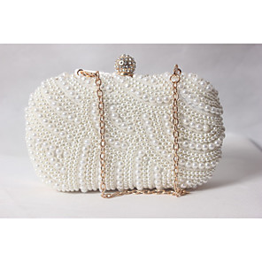 cheap Clutches & Evening Bags-Women's Beading / Pearl / Imitation Pearl Satin Evening Bag Solid Colored White-Beige-Red