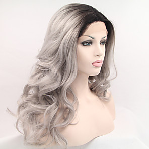 cheap Synthetic Lace Wigs-Synthetic Lace Front Wig Natural Wave Natural Wave Side Part Lace Front Wig Long Black / Grey Synthetic Hair 18-26 inch Women's Ombre Hair Black Grey Ombre