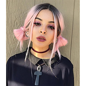 cheap Synthetic Lace Wigs-Synthetic Wig Straight Straight Wig Pink Medium Length Pink Green Synthetic Hair Women's Ombre Hair Dark Roots Middle Part Pink Green