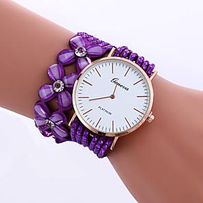 cheap Women's Heels-Women's Bracelet Watch Quartz Ladies Rhinestone Quilted PU Leather Black / White / Blue Analog - White Black Purple One Year Battery Life / Jinli 377