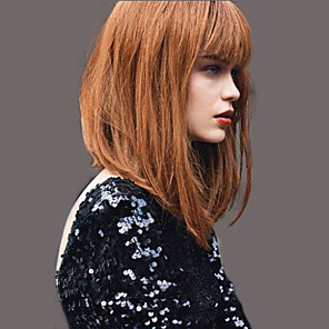 cheap Synthetic Trendy Wigs-Human Hair Blend Wig Straight Short Hairstyles 2020 Straight Natural Black #1B Light Auburn Beige Blonde / Bleached Blonde