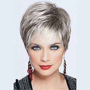 cheap Synthetic Trendy Wigs-Human Hair Blend Wig Short Straight Pixie Cut Short Hairstyles 2020 Straight Short Silver Black Blonde Dark Roots Side Part With Bangs Women's Grey Medium Auburn / Bleach Blonde Beige Blonde