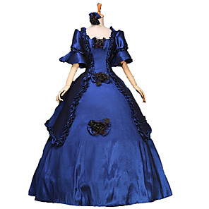 cheap Historical & Vintage Costumes-Victorian Medieval 18th Century Dress Party Costume Masquerade Ball Gown Women's Lace Cotton Costume Vintage Cosplay Party Prom Long Length Ball Gown Plus Size Customized / Floral / Hat