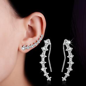 cheap Earrings-Women's Crystal Synthetic Diamond Stud Earrings Clip on Earring Ear Climbers cuff Leaf Heart Flower Ladies Personalized Double-layer Fashion Bling Bling Sterling Silver Earrings Jewelry Silver For