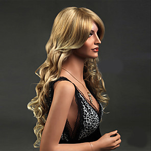 cheap Synthetic Trendy Wigs-Synthetic Wig Wavy Wavy Wig Blonde Long Blonde Synthetic Hair Women's Blonde