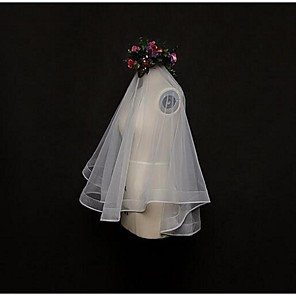 cheap Party Accessories-One-tier Lace Applique Edge Wedding Veil Blusher Veils / Elbow Veils / Fingertip Veils with Tulle / Classic