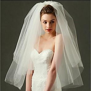 cheap Wedding Veils-Two-tier Cut Edge Wedding Veil Blusher Veils / Elbow Veils / Fingertip Veils with Tulle / Classic