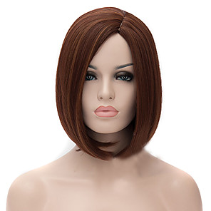 cheap Synthetic Lace Wigs-Synthetic Wig Straight kinky Straight kinky straight Straight Asymmetrical Wig Medium Length Medium Auburn Synthetic Hair Women's Natural Hairline Brown