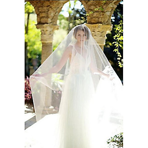 cheap Wedding Veils-One-tier Cut Edge Wedding Veil Blusher Veils / Cathedral Veils with Tulle / Classic