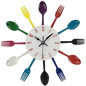 1pc Modern Chromatic Cutlery Kitchen Wall Clock Spoon Fork Creative Mirror Stickers Mechanism New Design