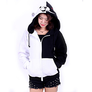 cheap Anime Costumes-Inspired by Dangan Ronpa Monokuma Video Game Cosplay Costumes Cosplay Hoodies Patchwork Long Sleeve Coat Costumes